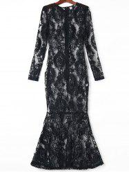 Sheer Lace Long Sleeve Maxi Mermaid Formal Dress - BLACK