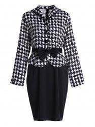 Stylish Turn-Down Collar Long Sleeve Houndstooth Bowknot Embellished Women's Dress