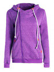 Stylish Hooded Skew Zippered Thick Long Sleeve Hoodie For Women -