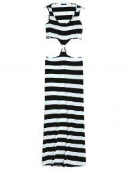Scoop Neck Sleeveless Striped Cut Out Summer Dress