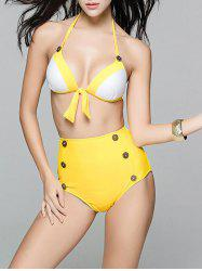 Charming High-Waisted Color Block Button Design Women's Bikini Set