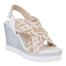 Fashionable Multicolor and Weaving Design Sandals For Women -