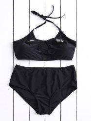 Casual Halter Hollow Out Solid Color High-Waisted Women's Bikini Set