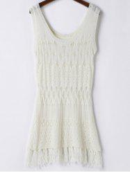 Scoop Neck Open Knit Beach Tunic Cover Up - WHITE