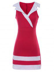 Sexy Plunging Neck Sleeveless Striped Splicing Dress For Women -