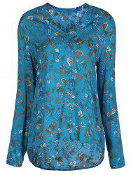 Stylish V-Neck Long Sleeve Floral Print Loose-Fitting Women's Blouse