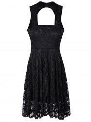 Sweetheart Neck Lace Backless A Line Formal Dress - BLACK
