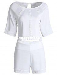 Stylish Round Neck Short Sleeves Hollow Out Fringe Backless Blouse and Shorts Suit For Women