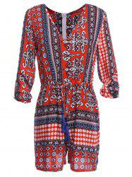 Ethnic Style V-Neck 3/4 Sleeve Printed Women's Romper - RED