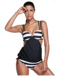Chic Spaghetti Strap Striped Women's Tankini Set