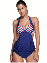 Halter Stripe Push Up Backless Underwire Padded Tankini -