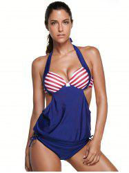 Halter Striped Backless Blouson Swimsuit with Underwire - BLUE 2XL