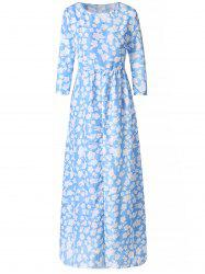 Stylish Round Neck 3/4 Sleeve Floral Print Women's Maxi Dress