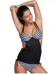Trendy Spaghetti Strap Striped Women's Tankini Set -