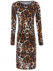 Long Sleeve Leopard Print Backless T-Shirt Dress -
