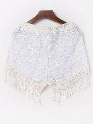 Sexy Fringed Flowy Lace Shorts - WHITE