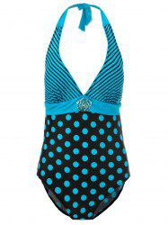 Sexy Halter Striped Polka Dot One-Piece Maillots de bain pour femmes - Pers 2XL