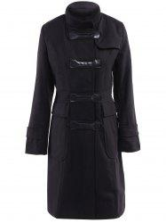 Stylish Stand-Up Neck Long Sleeve Slimming Spliced Women's Coat -
