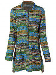 Ethnic Women's Stand Collar Long Sleeve Geometric Linen Blouse