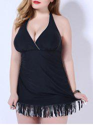 Fashionable Halter Plus Size Fringed Push Up Women's Swimwear