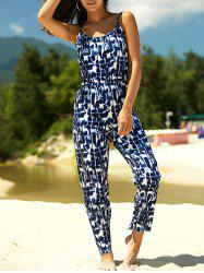 Stylish Strappy Tie Dyed Jumpsuit For Women