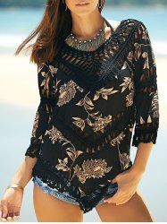 Stylish V-Neck Printed Crochet Top For Women -