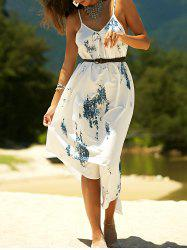 Printed Asymmetric Cami Summer Dress - WHITE