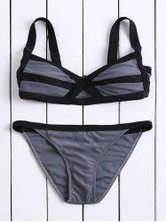 Casual Spaghetti Strap Color Block Bandage Women's Bikini Set