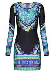 Stylish Round Neck Long Sleeve Printed Bodycon Women's Dress -