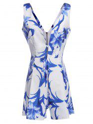 Fashion Plunging Neck Floral Print Sleeveless Romper For Women
