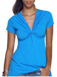 V-Neck Twist Asymmetric T-Shirt