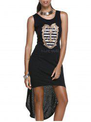 Sleeveless Hook Graphic High Low Dress