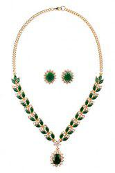 Fake Crystal Leaf Necklace and Earrings -