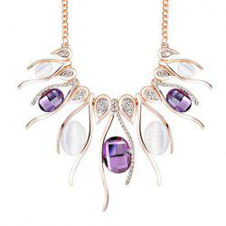 Noble Faux Amethyst Rhinestoned Necklace For Women -