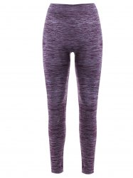 Sports Elastic Waist Running Leggings - PURPLE