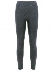 Sports Elastic Waist Solid Color Women's Leggings - DEEP GRAY