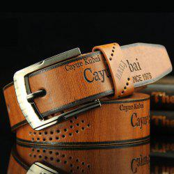 Stylish Hollow Out Hole Embellished Retro PU Wide Belt For Men - BROWN