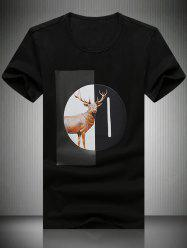 Round Neck Elk Printed Short Sleeve T-Shirt For Men -