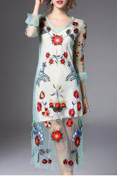 Flower Embroidered Voile Midi Dress with Tank Top -