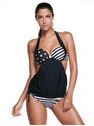 Halter Backless American Flag Tankini