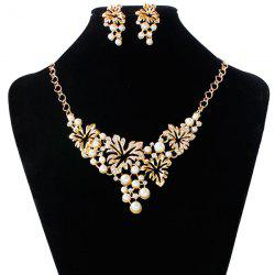 A Suit of Fake Pearl Flower Necklace and Earrings - GOLDEN