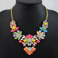 Faux Crystal Floral Embellished Necklace