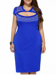 Plus Size Print Sheath Cutout Dress