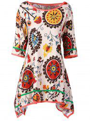 Casual Scoop Collar 3/4 Sleeve Printed Asymmetrical Women's Dress