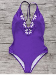 Stylish Cami Embroidered One-Piece Women's Swimwear