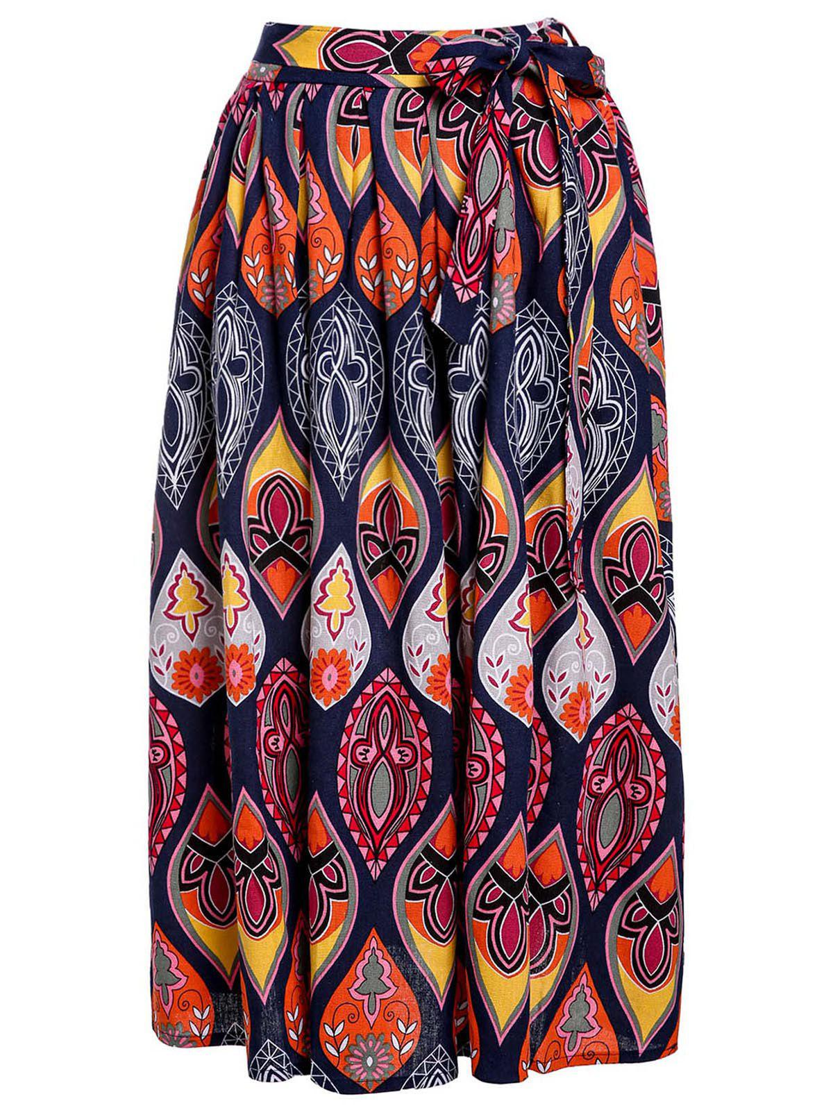 Online Ethnic Style Elastic Waist Mid-Waisted Printed Women's Skirt