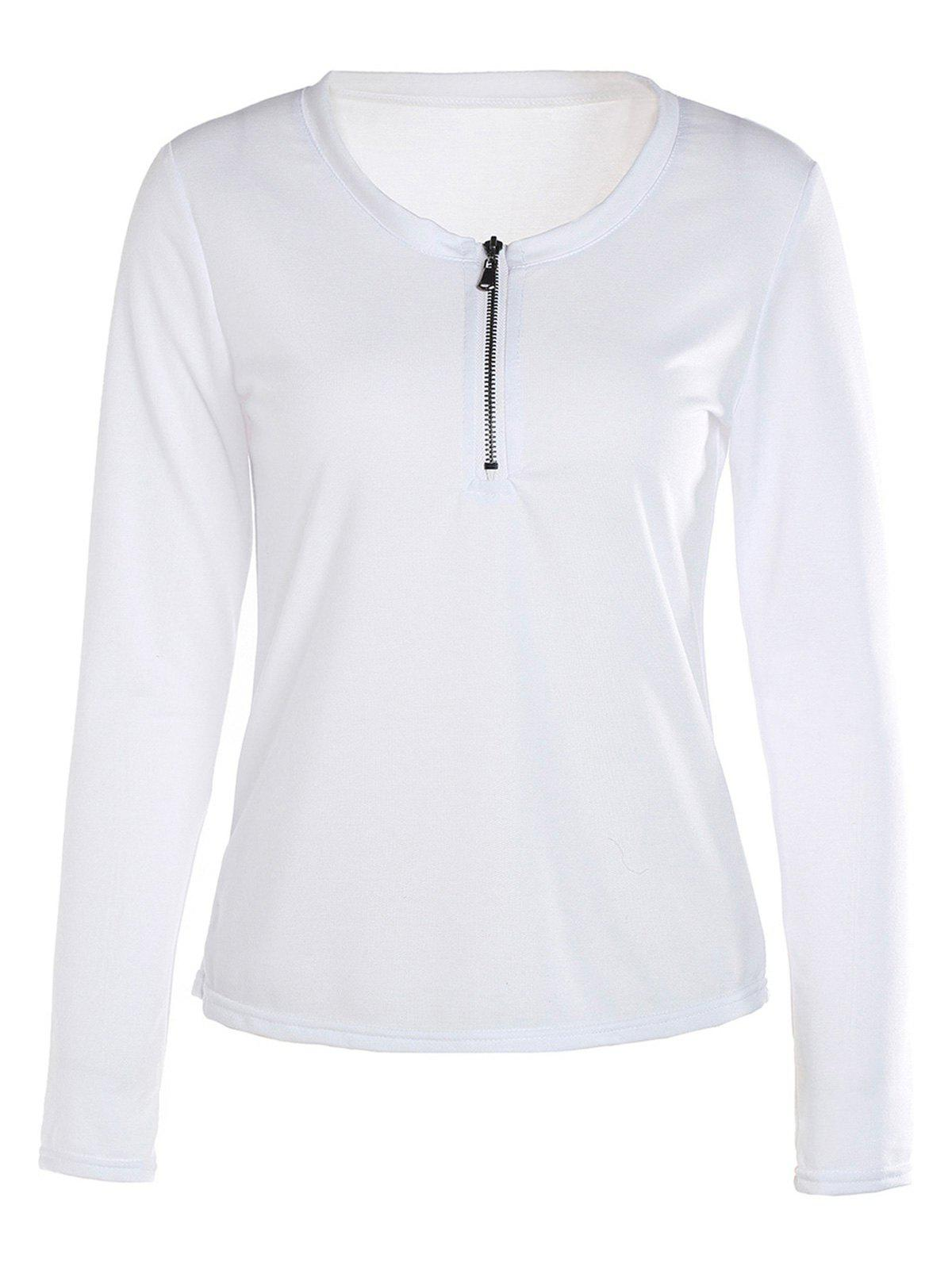 Hot Trendy White Scoop Neck Zippered Long Sleeve T-Shirt For Women