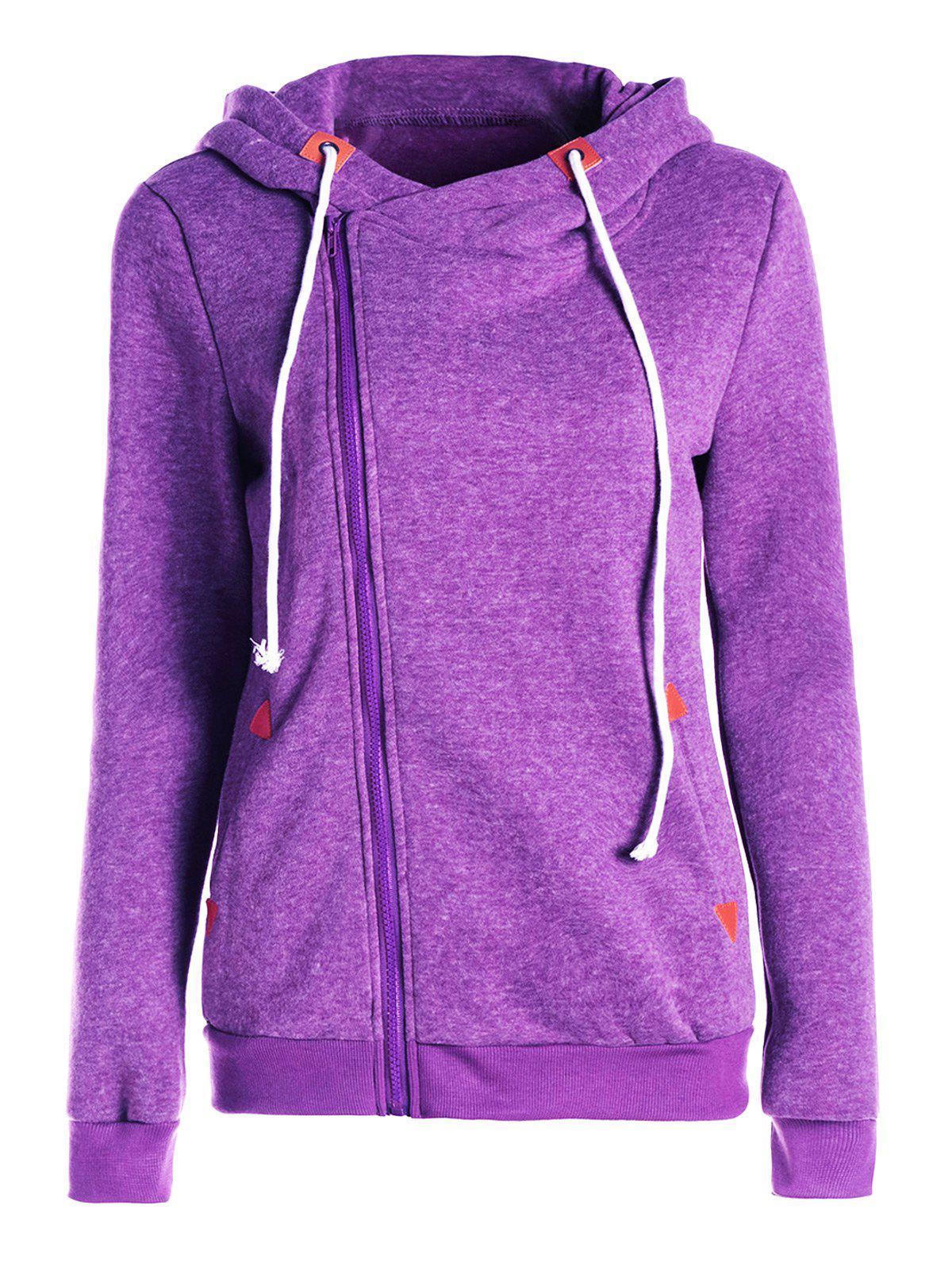 Purple 2xl Stylish Hooded Skew Zippered Thick Long Sleeve