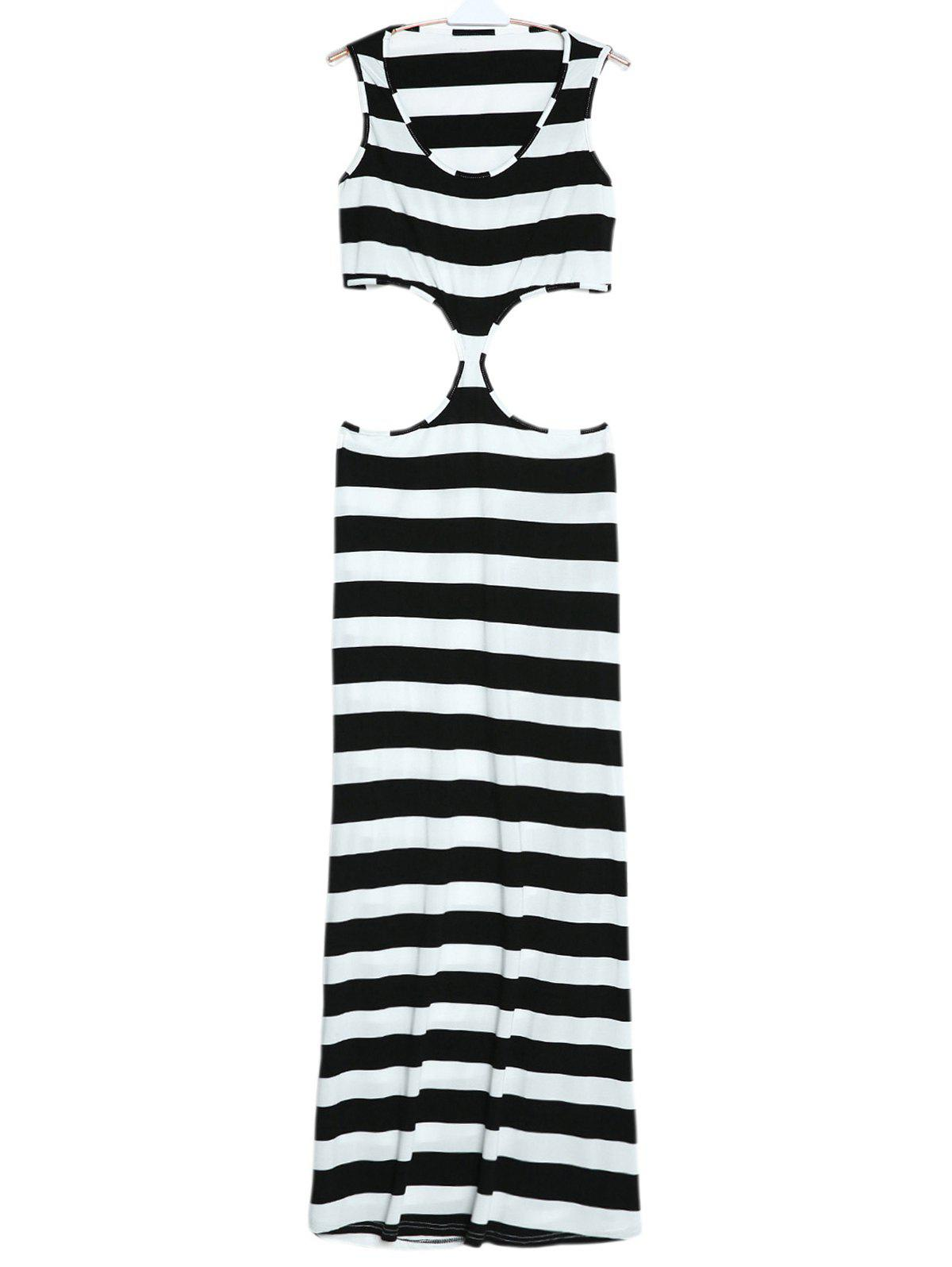 Affordable Maxi Striped Cut Out Sleeveless Summer Dress