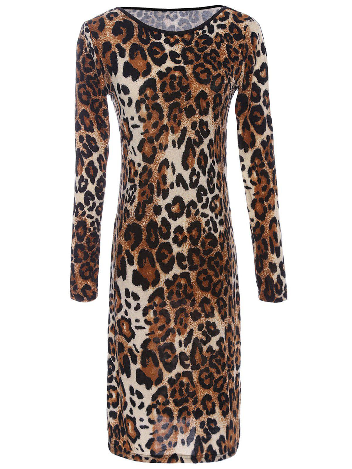 Outfits Long Sleeve Leopard Print Backless T-Shirt Dress